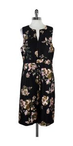 J.Crew Black Pink Floral Print Sleeveless Dress