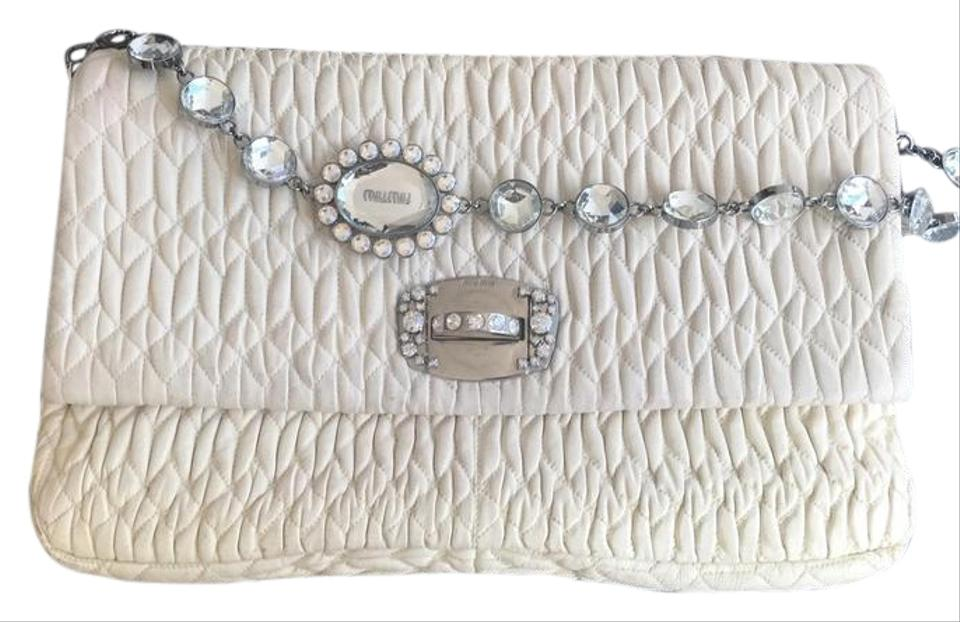 Miu Miu Matelasse Crystal Flap White Nappa Leather Clutch - Tradesy 0d19fa15a4dc1