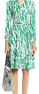 Diane von Furstenberg short dress green, white on Tradesy