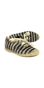 Kate Spade Black Tan Striped Espadrille Sneakers Boots