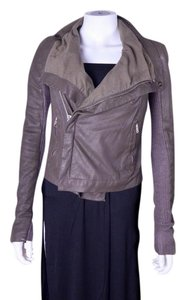 Rick Owens Moto Motorcycle Zip Gray Taupe Leather Jacket