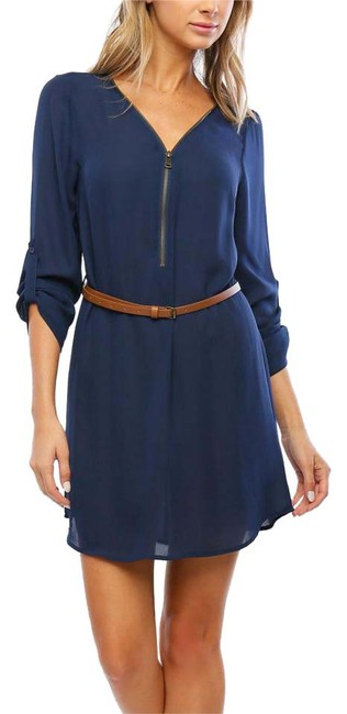 Item - Navy Zip-front Belted Short Casual Dress Size 8 (M)