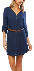 Timing short dress Navy Zip Shirt Belted on Tradesy