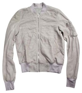 Rick Owens Blistered Leather Bomber Flight Silver Coat Gray Leather Jacket