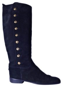 Chanel Button Logo Tall Suede Vintage Black Boots