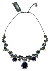 Givenchy Givenchy CZ Crystal Jewel Statement Necklace Gunmetal