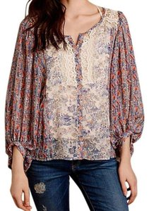 Anthropologie Top NWT Lace + Print