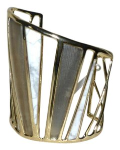 Alexis Bittar New Alexis Bittar Warm Grey rLucite LUNA Bangle Bracelet Howlite Gold