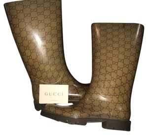Gucci Brown and Beige Boots