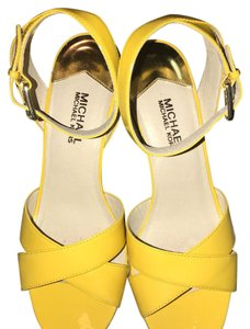 Michael Kors Sunflower Yellow with Gold Hardware Wedges