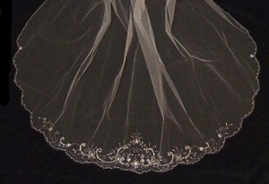 Chapel Length Beaded Edge Ivory Wedding Veil