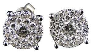 Other 14K White Gold Look Clear Vs Diamond Stud 10 Mm Earrings 1.3Ct