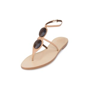 Giorgio Armani Genuine Leather Leather Flat T-strap Flat Brown Sandals