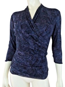 Classiques Entier Silk Blend Stretch Floral Abstract Shirred Sweater