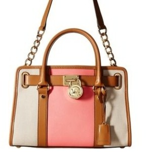 Michael Kors Limited Edition Two-tone Color-blocking Leather Canvas Satchel in Ecru/Coral/Gold