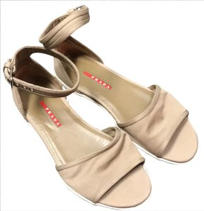 Prada Neutral Ankle Strap Tan Khaki Sandals