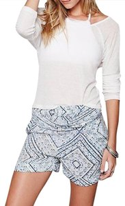 Free People Twisted Harem Boho Chic Classic Mid Rise Stretchy Banded Waist Hem Cuffed Shorts Blue