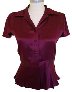 Banana Republic Peplum Button Down Shirt Burgundy