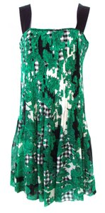 Diane von Furstenberg short dress Green/Black Tea A-line Graphic Print Silk on Tradesy