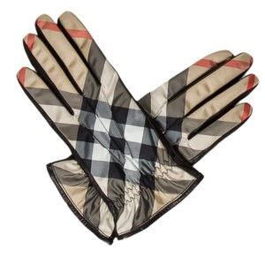 Burberry Black leather Burberry House Check beige plaid gloves 8