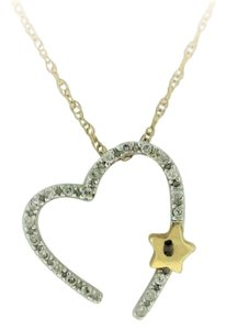 Other Diamond Open Heart Necklace - 14k White Yellow Gold