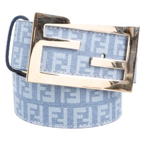 Fendi Pale blue leather Zucchino monogram Fendi belt M
