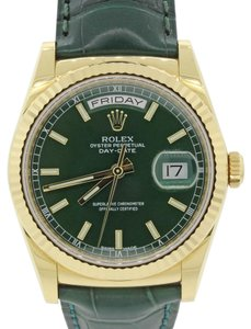 Rolex Rolex Day-Date President 36mm 118138 18K Gold Green Strap Watch BP