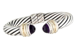 David Yurman Sterling silver 14 K gold David Yurman Classic cable amethyst cuff