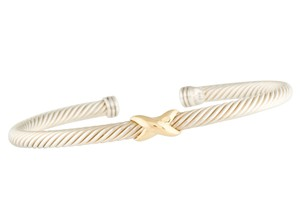 David Yurman Sterling silver 14 K gold David Yurman Classic cable X station cuff