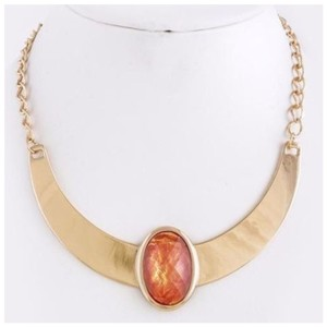 Other D36 Nacre Opalescent Irridescent Coral Orange Gold Metal Collar Necklace