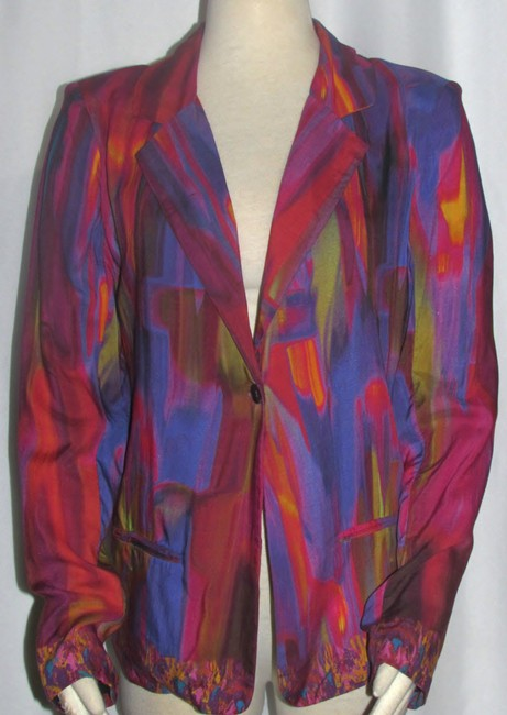 Item - Pink Purple Red Etc New Ladies Bold Multi Color Abstract Jacket S Blazer Size 6 (S)