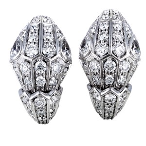 BVLGARI Bvlgari Serpenti Womens 18K White Gold Full Diamond Pave Earrings