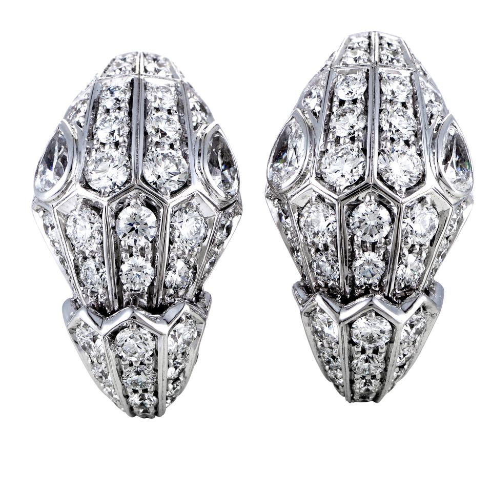 Bvlgari Serpenti 18k White Gold Full Diamond Pave Earrings