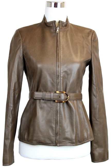 Item - Brown Belted Bamboo Detail 40 340450 2711 Jacket Size 4 (S)