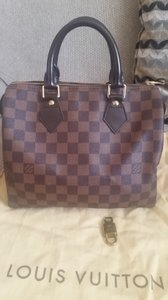 Louis Vuitton Speedy Damier Canvass Leather Tote Hobo Bag