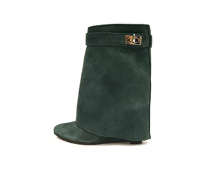Givenchy Ankle Suede Wedge Heel Forest Green Boots