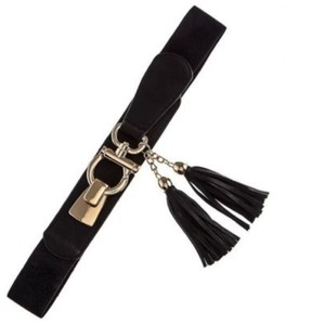 Other DF Black & Gold Omega Bucle Tassel Faux Leather Stretch Cinch Belt One Size