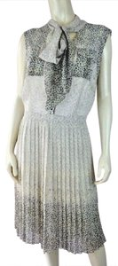 Antonio Melani short dress Cream Gray Yellow Pleated Summer Floral Pockets Sleeveless on Tradesy