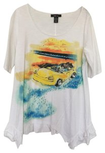 Style & Co T Shirt white, yellow, blue