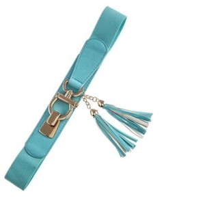 Other DF Aqua Blue & Gold Omega Bucle Tassel Faux Leather Stretch Cinch Belt One Size