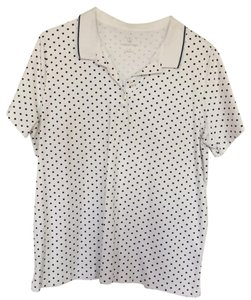 Lands' End Button Down Shirt White with black polka dots