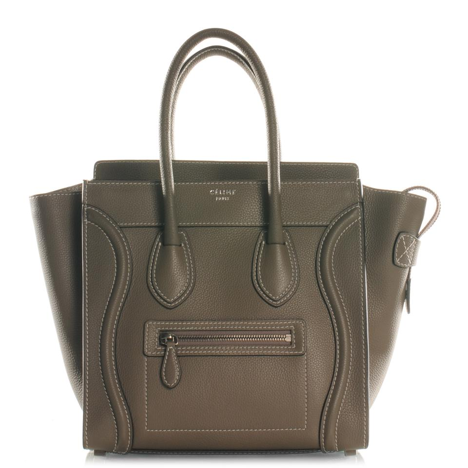 982334f807e27 Céline Luggage Micro Handbag In Souris (Taupe Gray) Drummed Calfskin Leather  Tote
