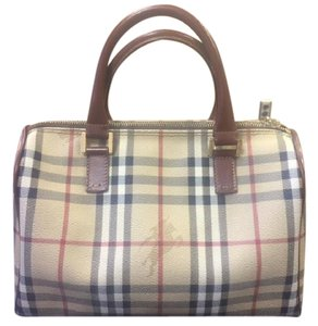 Burberry London Burberry Leather Checked Brown Satchel in Haymarket Brown