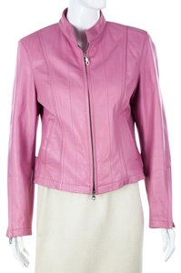 Wilsons Leather Moto Pink Leather Jacket