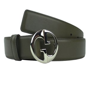 Gucci GUCCI 362738 Green Leather Belt with Interlocking G Buckle 105-42