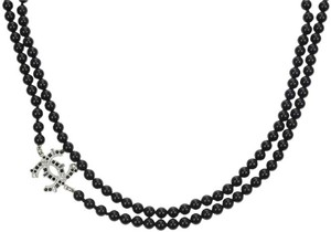 Chanel Chanel CC Black Beaded Glass Pearl Necklace