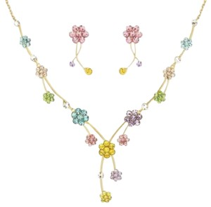 Other DF100 Swarovski Crystal Pastel Pink Blue Yellow Flower Handmade Necklace Set