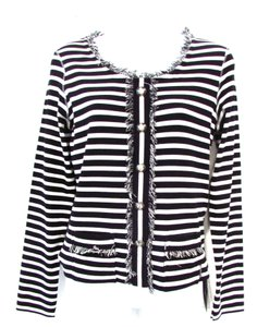 Marc Cain Striped & Cardigan Fringe Sweater