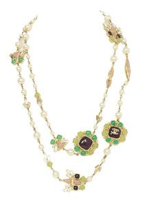 Chanel Chanel Faux Pearl & Multi-Colored Glass Bead Long Necklace