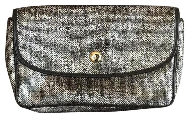 Item - #14975 Silver & Black Canvas Clutch